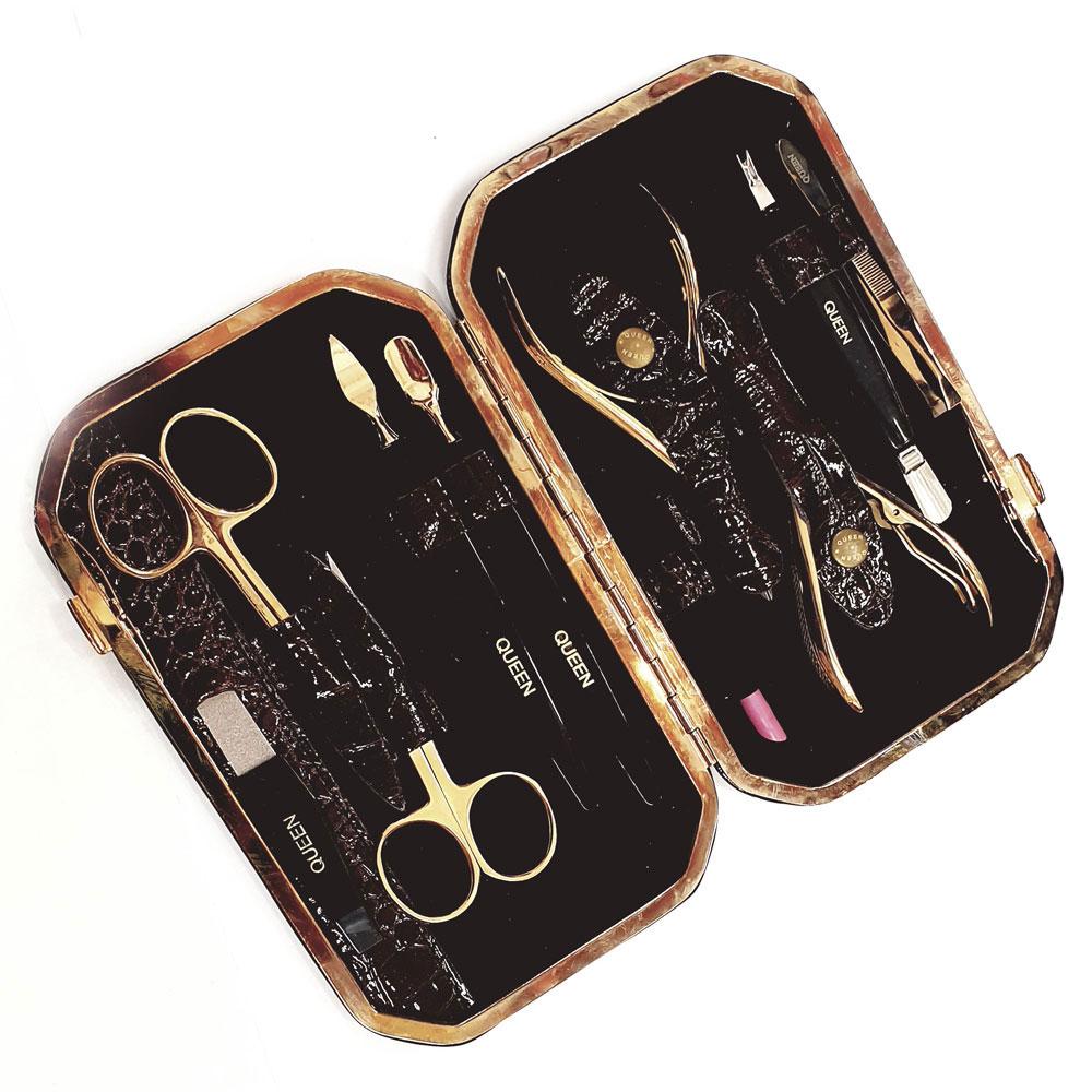 Маникюрно-педикюрный набор, прямоугольный (10 предметов), qs-MSQ-804-G Zinger