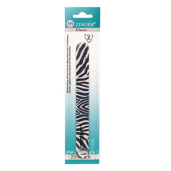 Пилка для ногтей, прямая, зебра (100/180) Zinger zo-UT-401C